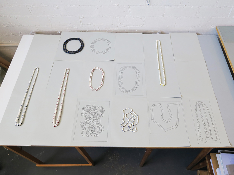 Manon van Kouswijk, a test presentation for the exhibition of necklaces and tracings, 2015, photo: artist