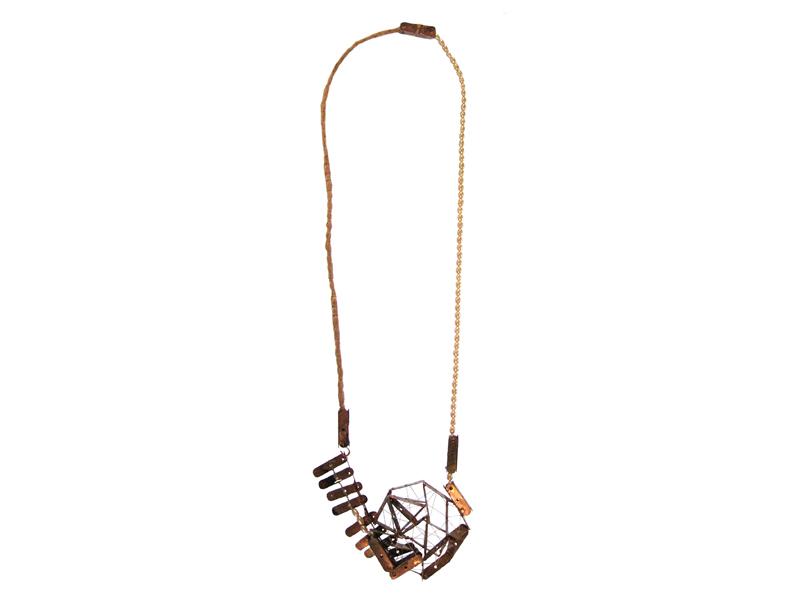 Nolia Shakti, Train Journey, 2015, necklace,isolation plates, freshwater pearls, silk, silver, cotton, epoxy, 5 (smallest) x 50 x 650 mm, photo: artist