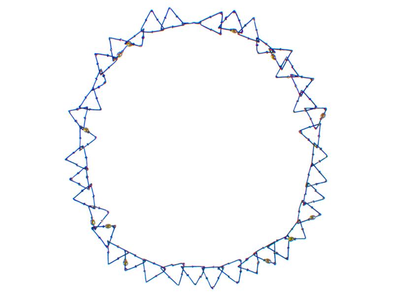 Nolia Shakti, Big Triangles, 2016, necklace, steel nails, silver, freshwater pearls, epoxy, 15 x 1 x 550 mm, photo: artist