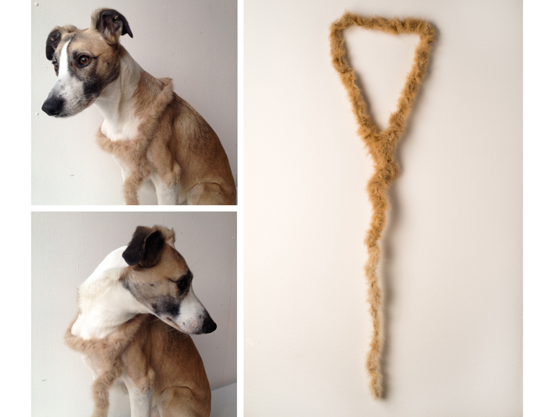 Amanda Åkermo, Sluggo, 2015, necklace, dog hair collected from two dogs attached with glue onto a textile string, 820 x 160 mm, photo: artist (left) and Lars Bryngelsson (right)