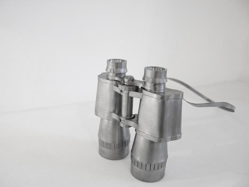 Sawa Aso, Binoculars (PANORAMIC-II), 2013, neckpiece, steel, iron wire, assembled, soldered, 158 x 165 x 55 mm, band 860 mm, photo Klara Brynge