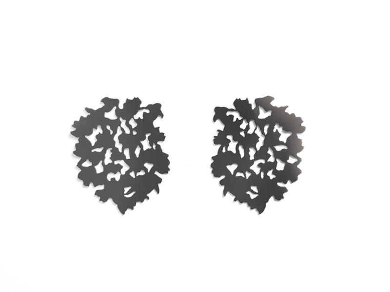 Liz Clark, Canopy Earrings, 2016, earrings, sterling silver, 44 x 32 mm, photo: Arthur Hash