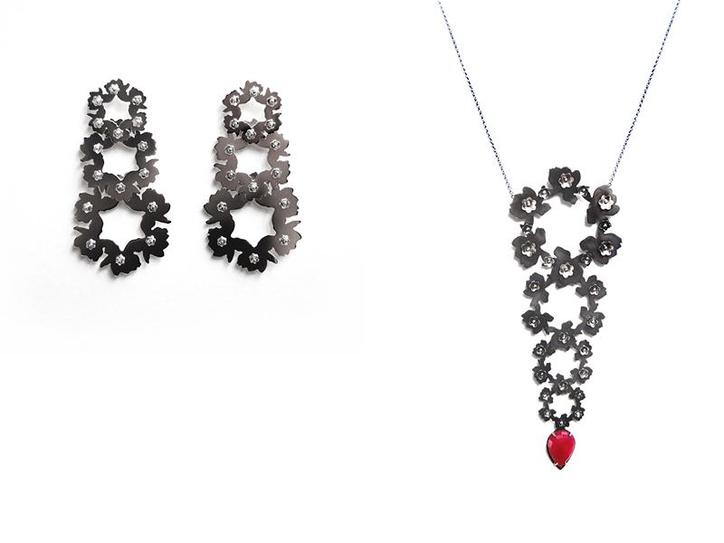 Liz Clark, (left) Silver Laurels, 2016, earrings, sterling silver, 76 x 38 mm; (right) Elongated Laurel, 2016, necklace, steel,