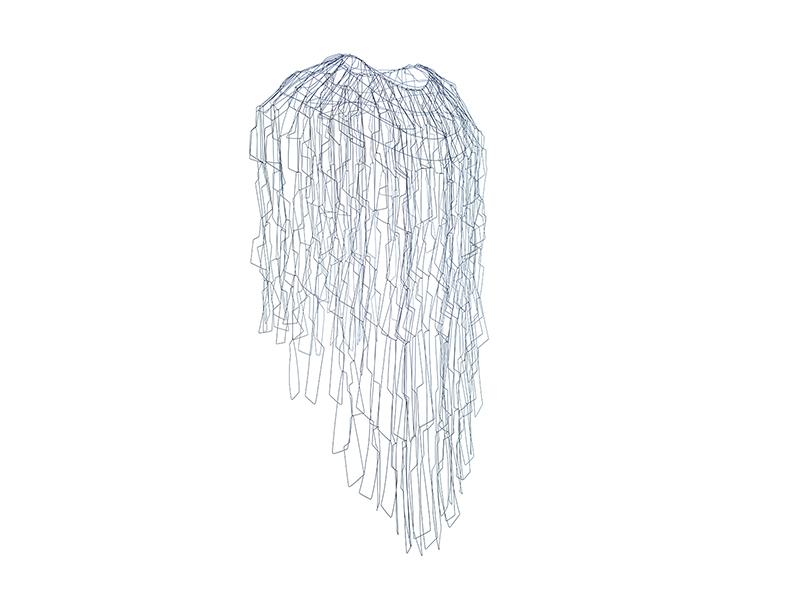 Florence Croisier, Dynjandi, 2013, blue titanium wire, 800 x 400 x 250 mm, photo: Michael Gantner