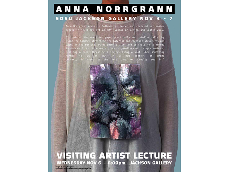 Anna Norrgrann will give a lecture at San Diego State University