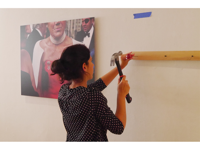 Pratt student installing After Wearing: A History of Gestures, Actions, and Jewelry, 2015, Pratt Manhattan Gallery, New York, photo: Mònica Gaspar