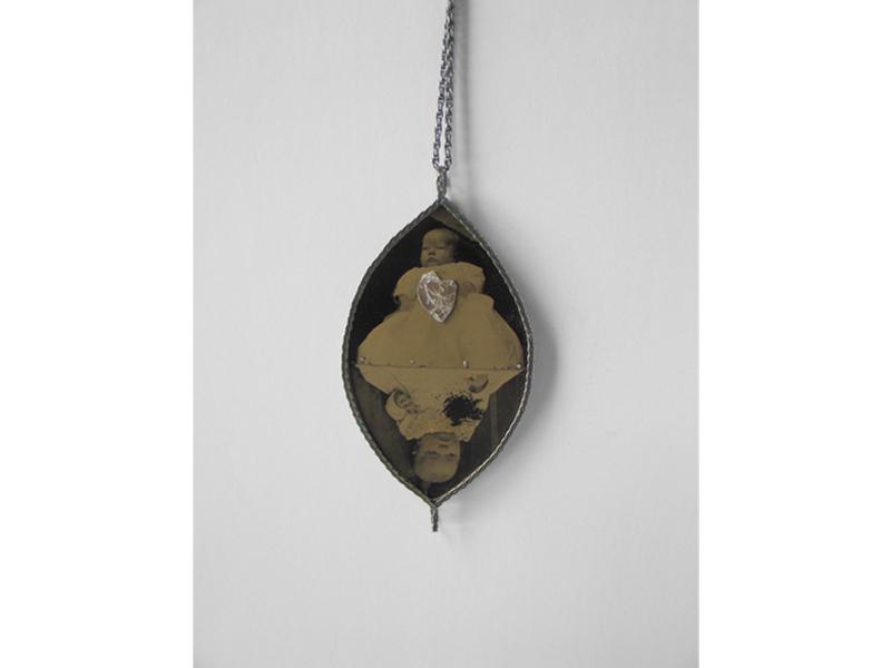 Bettina Speckner, Untitled, 2009, pendant, ferrotype photograph, diamond, silver, leaf, resin, 100 x 55 mm, photo: artist
