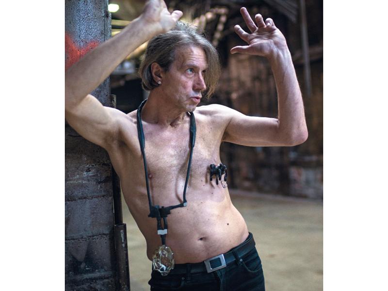 Raoul Kurvitz wears work by Lucia Babjakova and Tanel Veenre, in a photo from Kadri Mälk's book HUNT:, photo courtesy of K. Mälk