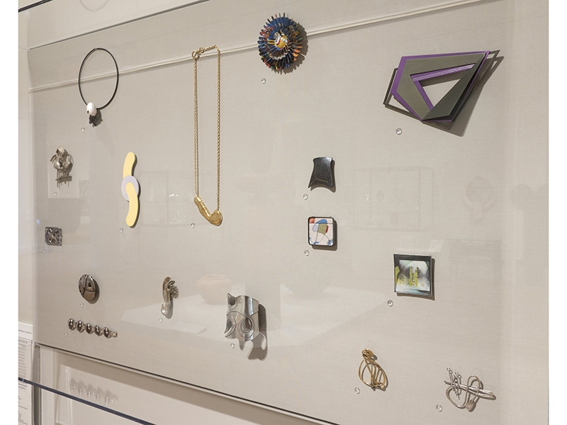 View of the installation of American studio jewelry from the promised gift of Toni Wolf Greenbaum