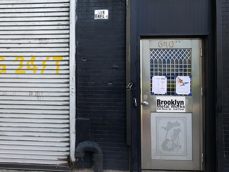 Street view of front door of Brooklyn Metal Works
