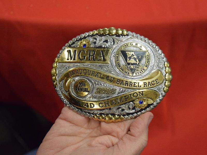 MGRA 4D Barrel Race Champion belt buckle