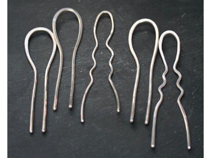 Jill Platner, handmade sterling silver hair pins