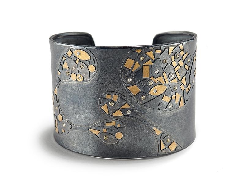 Peter Schmid~Atelier Zobel, Abstract Metal Mosaic Cuff