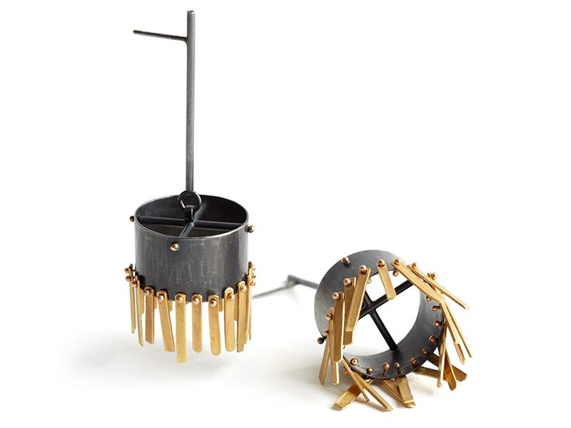 Sandra Enterline, Barrel Fringe Earrings